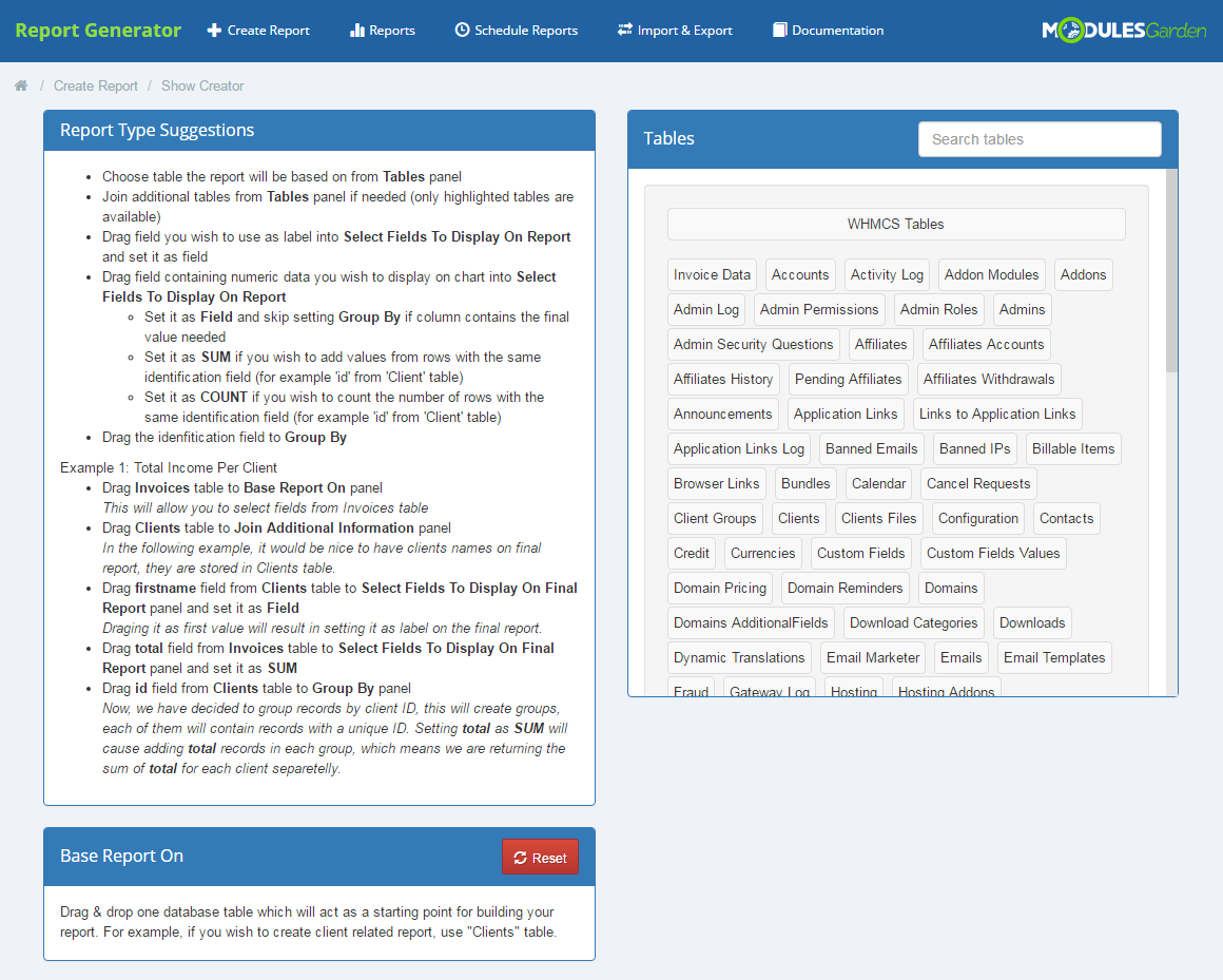 Report Generator For WHMCS: Screen 3