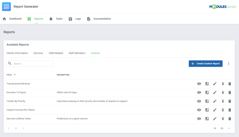 Report Generator For WHMCS: Module Screenshot 8