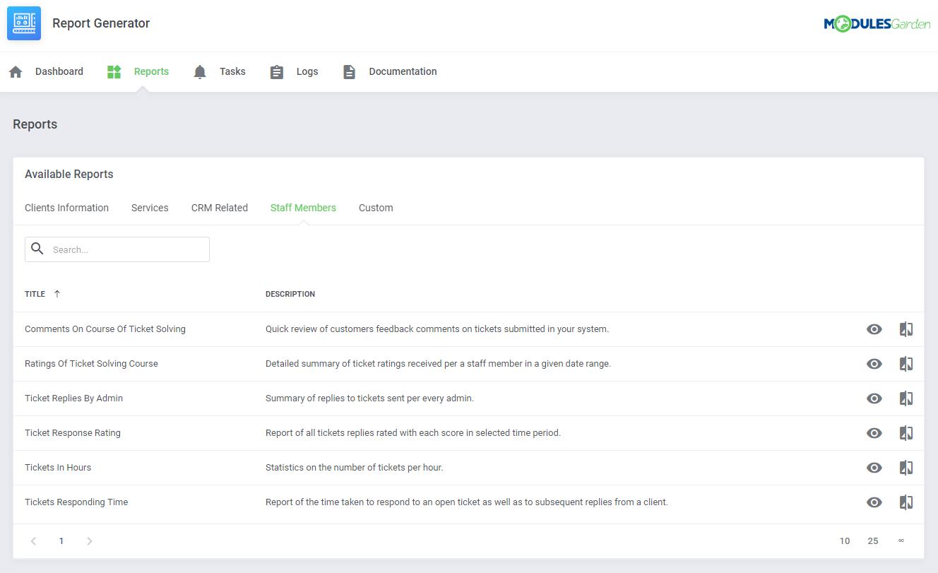 Report Generator For WHMCS: Module Screenshot 7