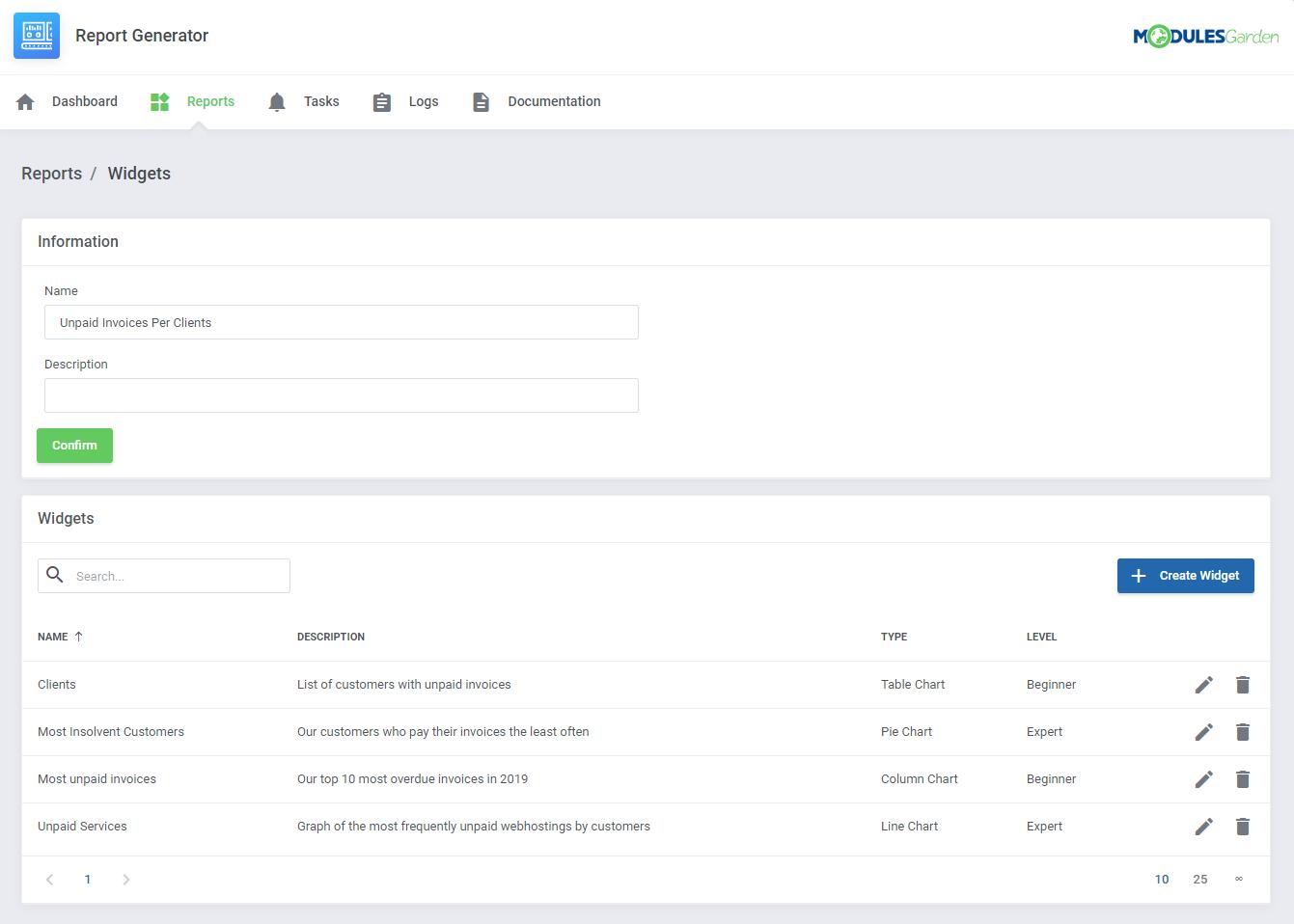 Report Generator For WHMCS: Module Screenshot 9