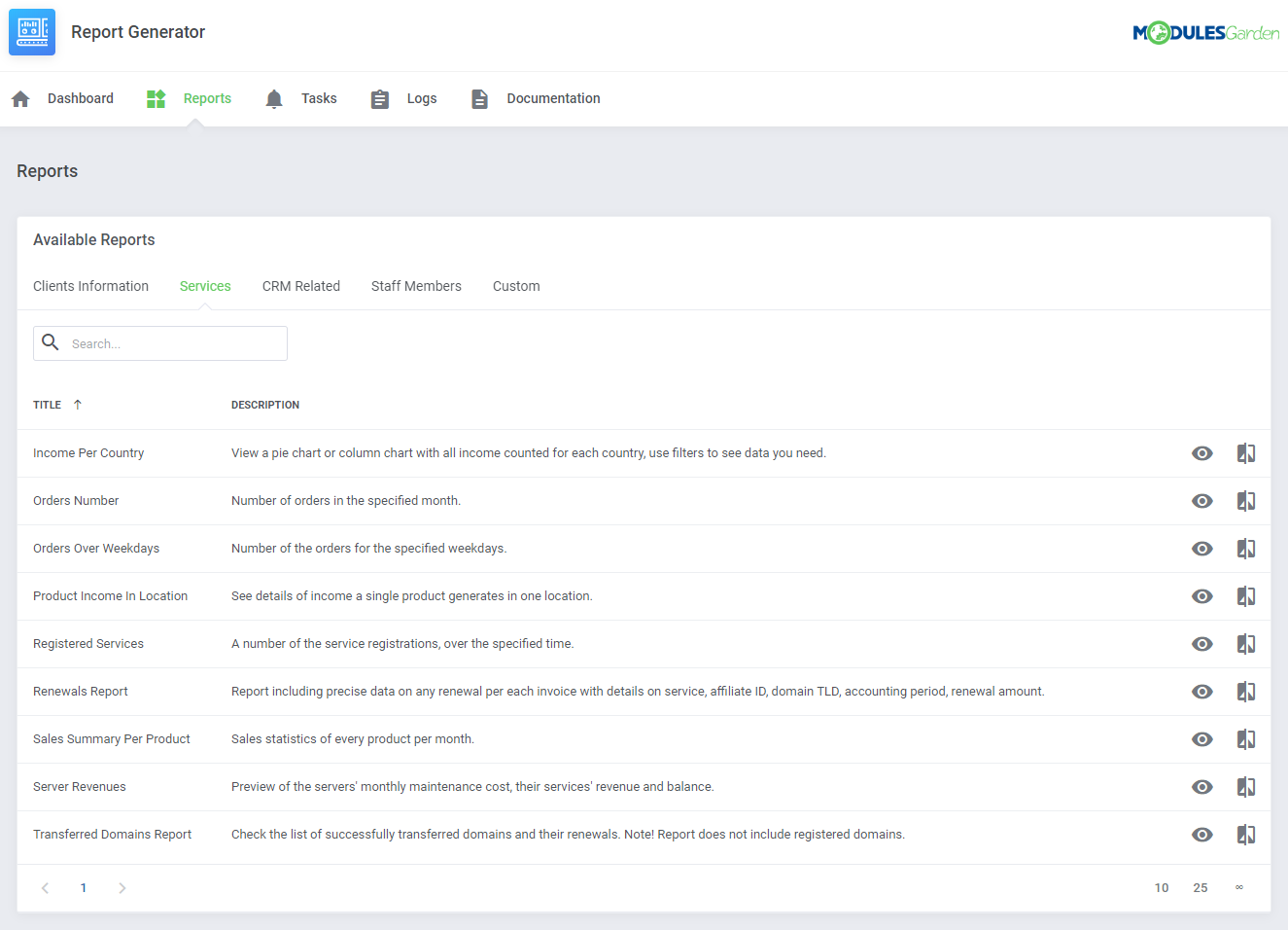 Report Generator For WHMCS: Module Screenshot 5
