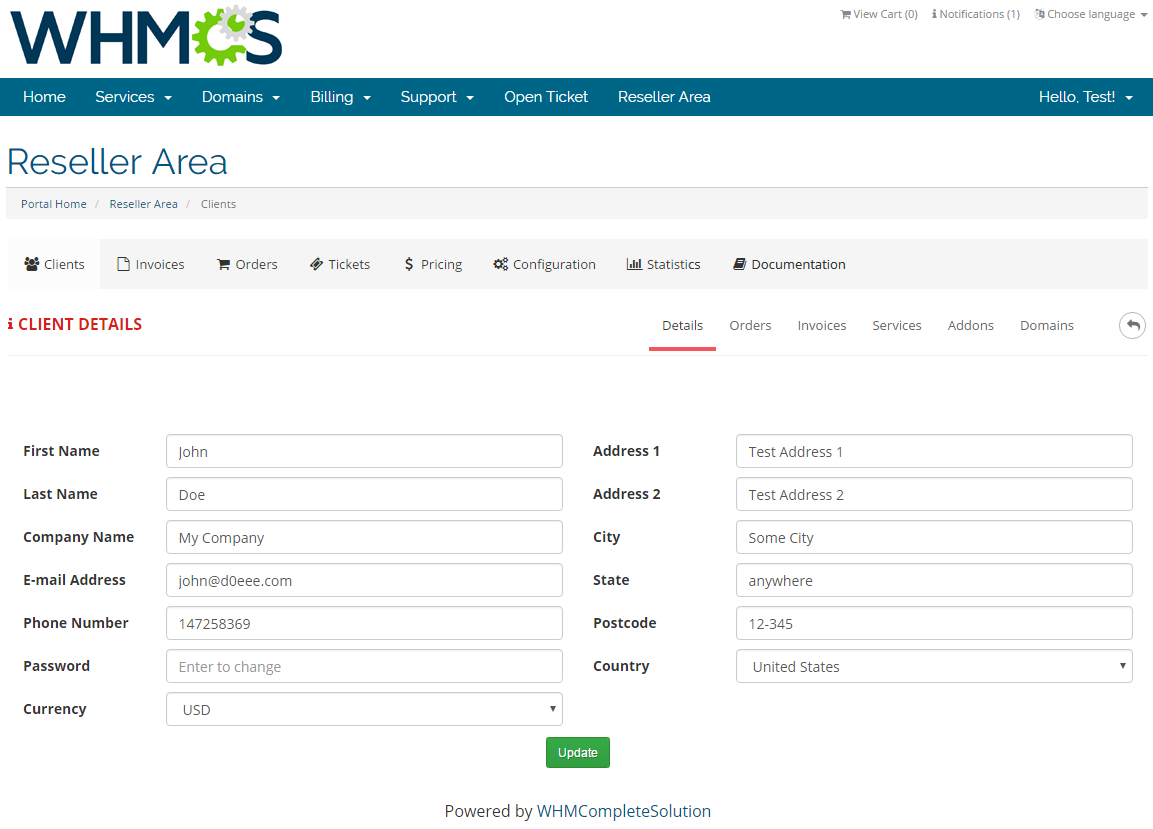 Resellers Center For WHMCS: Screen 14
