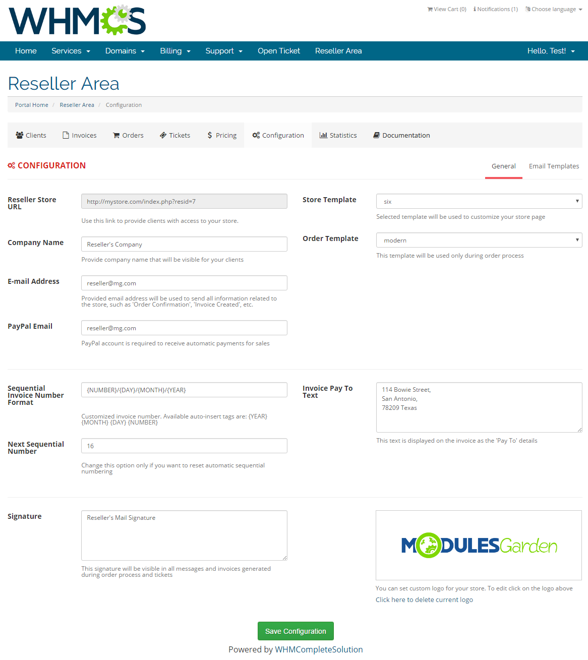 Resellers Center For WHMCS: Screen 25