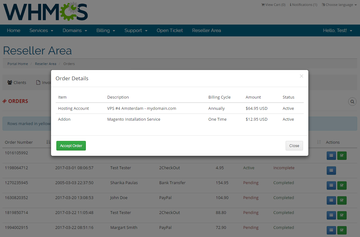 Resellers Center For WHMCS: Screen 19
