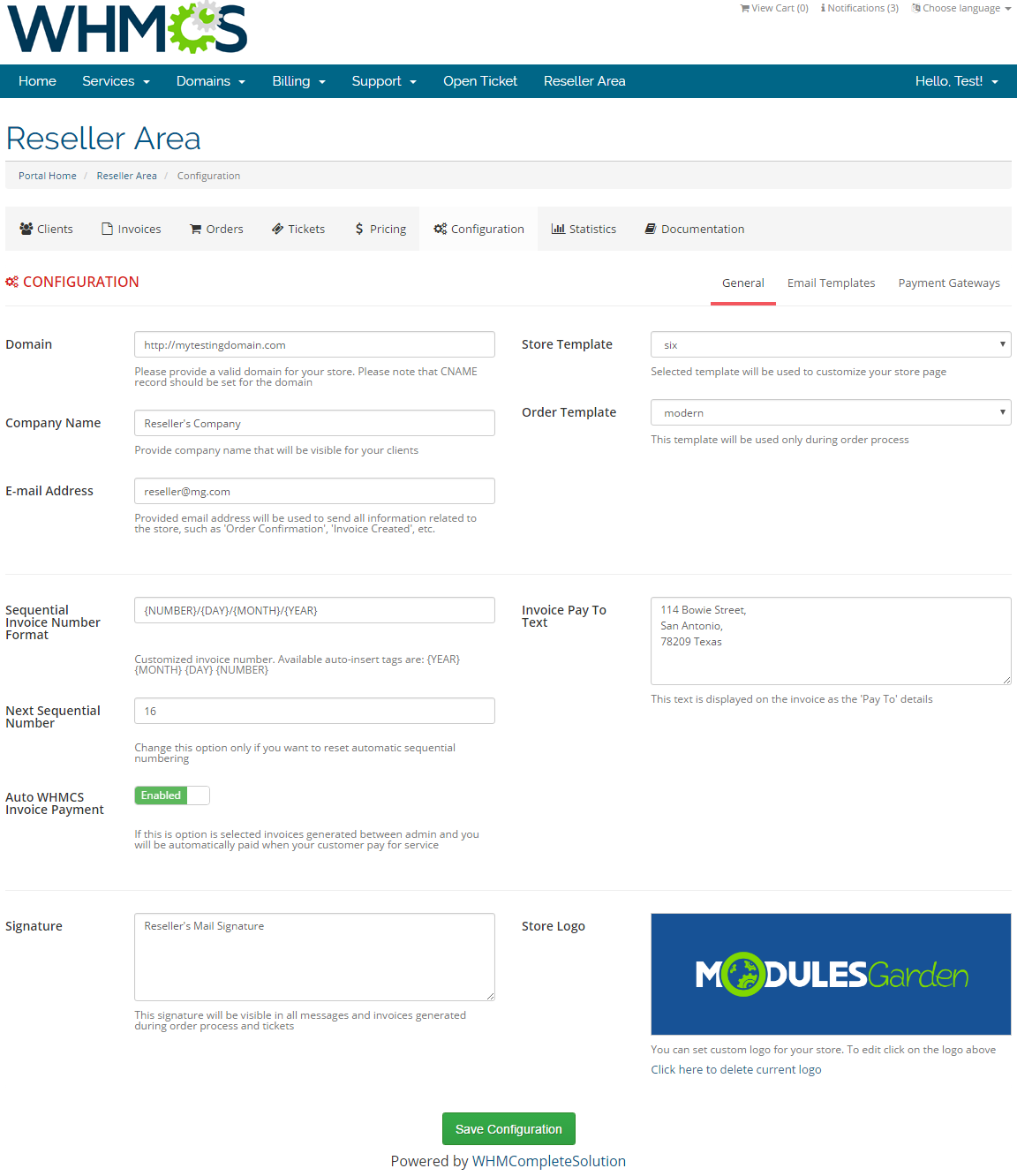 Resellers Center For WHMCS: Screen 26