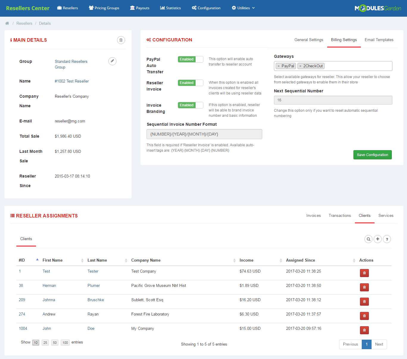 Resellers Center For WHMCS: Screen 3