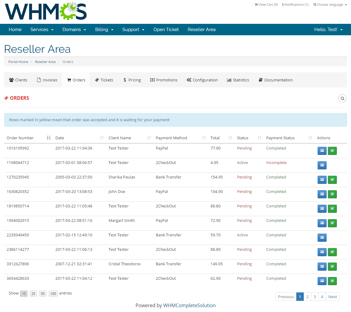 Resellers Center For WHMCS: Screen 18