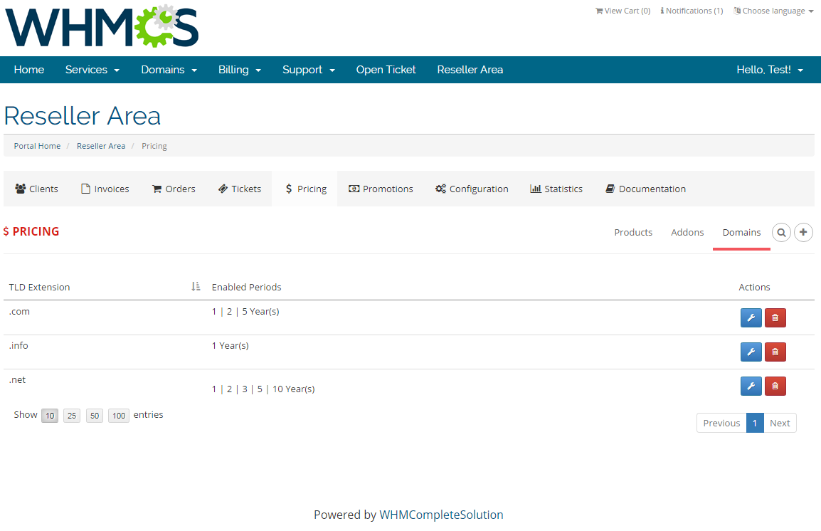 Resellers Center For WHMCS: Screen 24
