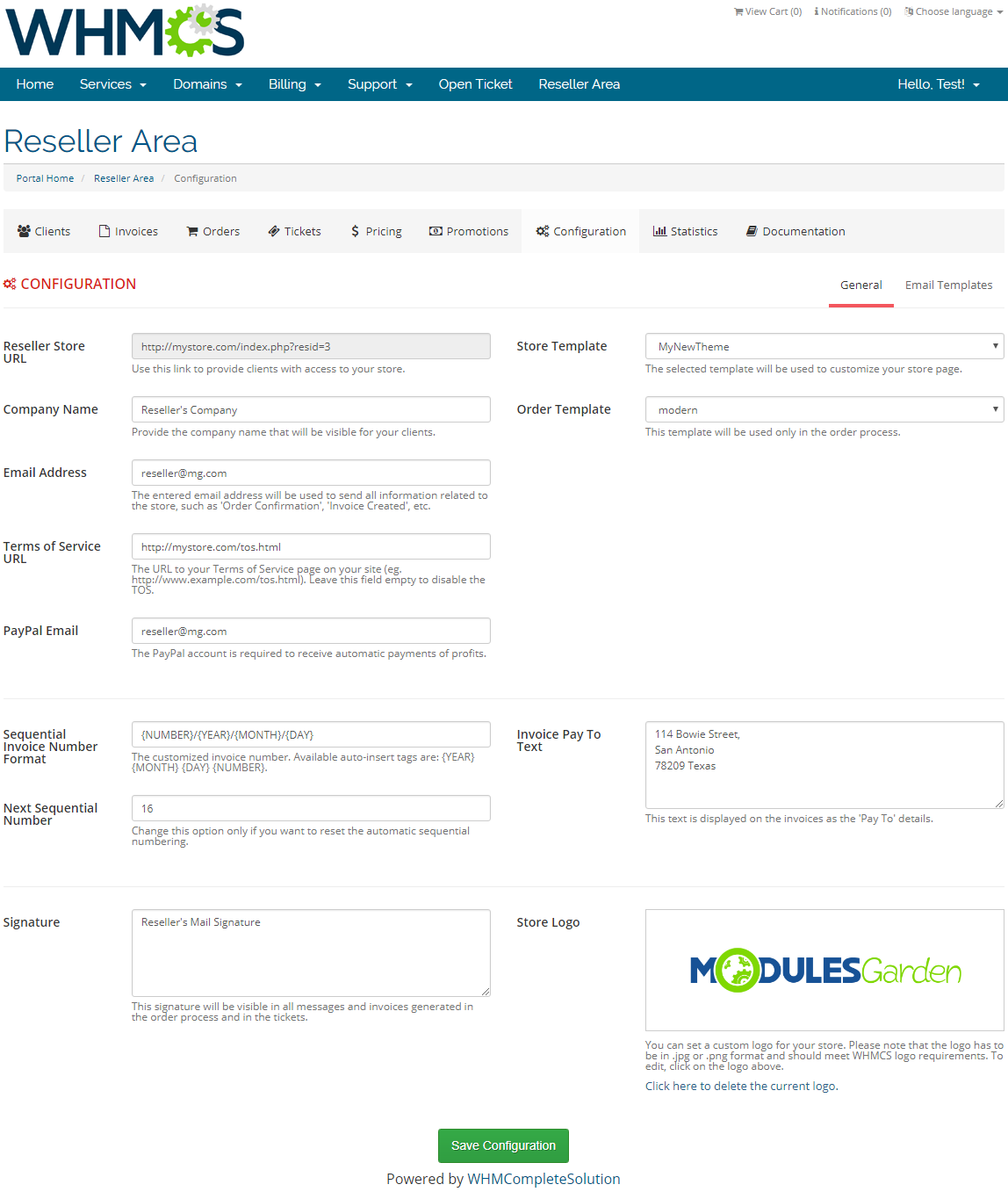 Resellers Center For WHMCS: Screen 27