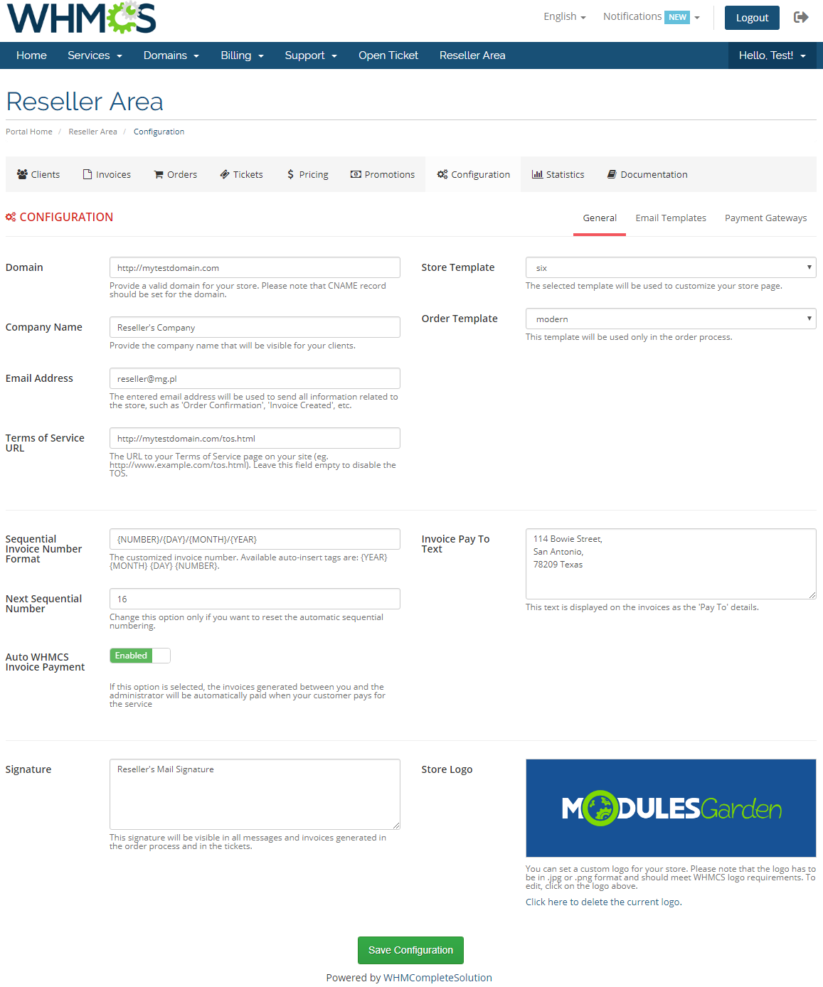 Resellers Center For WHMCS: Module Screenshot 30