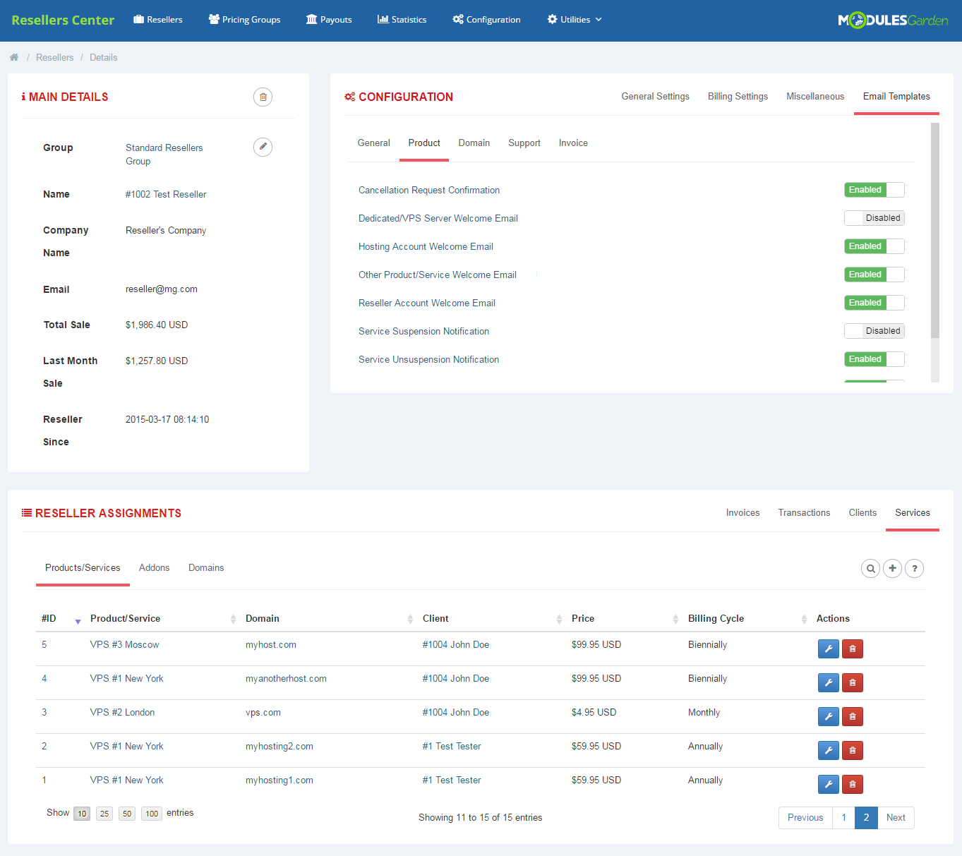 Resellers Center For WHMCS: Module Screenshot 5