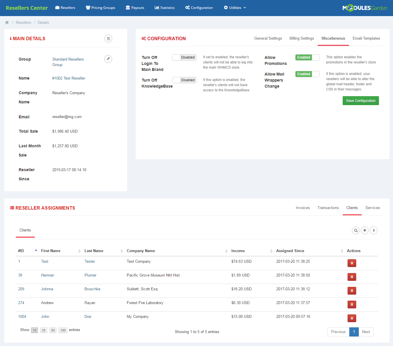 Resellers Center For WHMCS: Module Screenshot 4