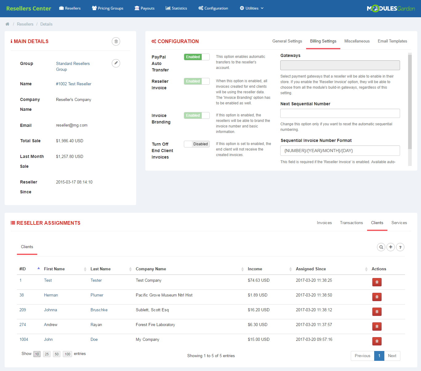 Resellers Center For WHMCS: Module Screenshot 3