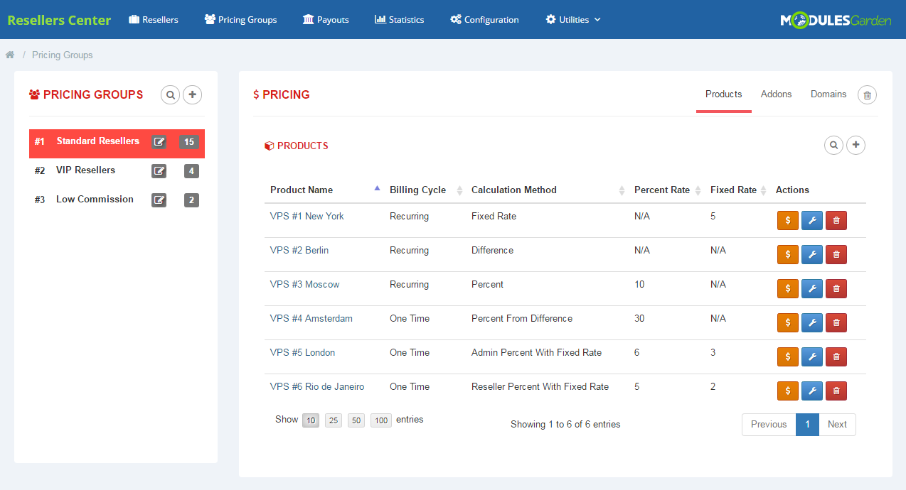 Resellers Center For WHMCS: Module Screenshot 6