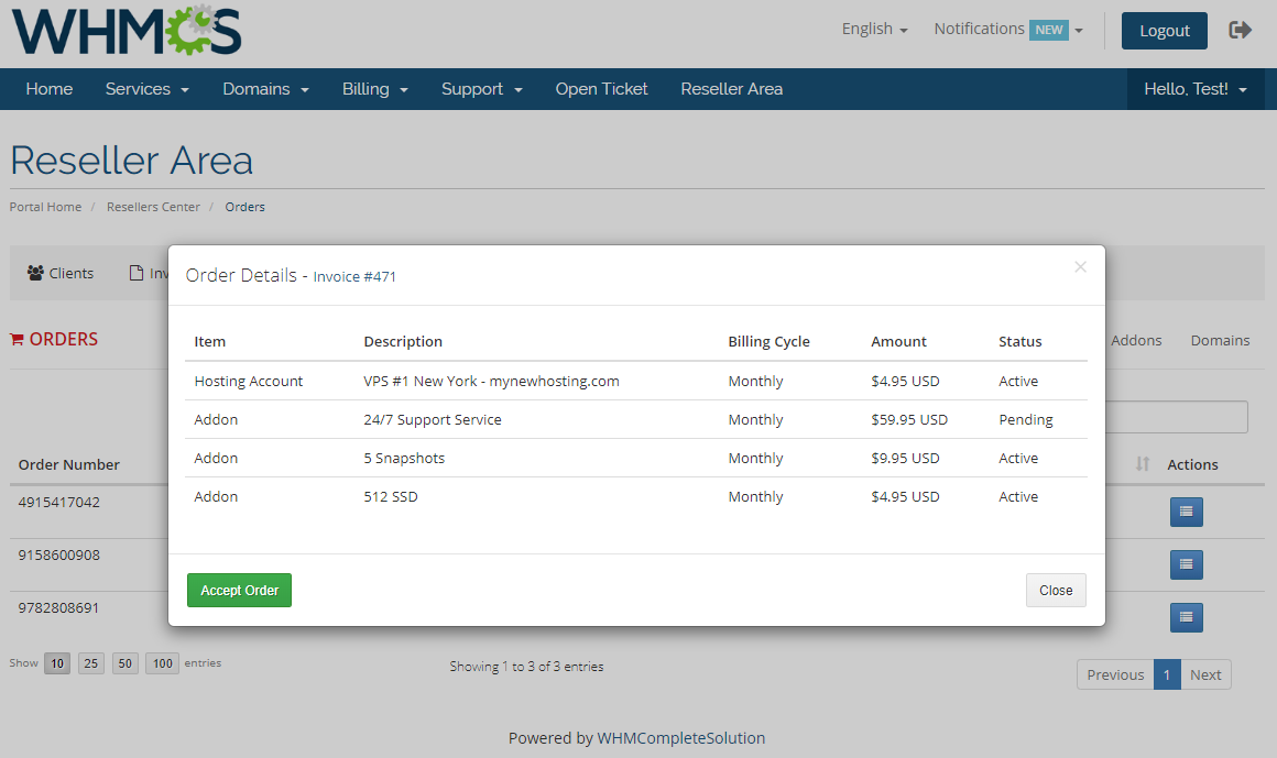 Resellers Center For WHMCS: Module Screenshot 22
