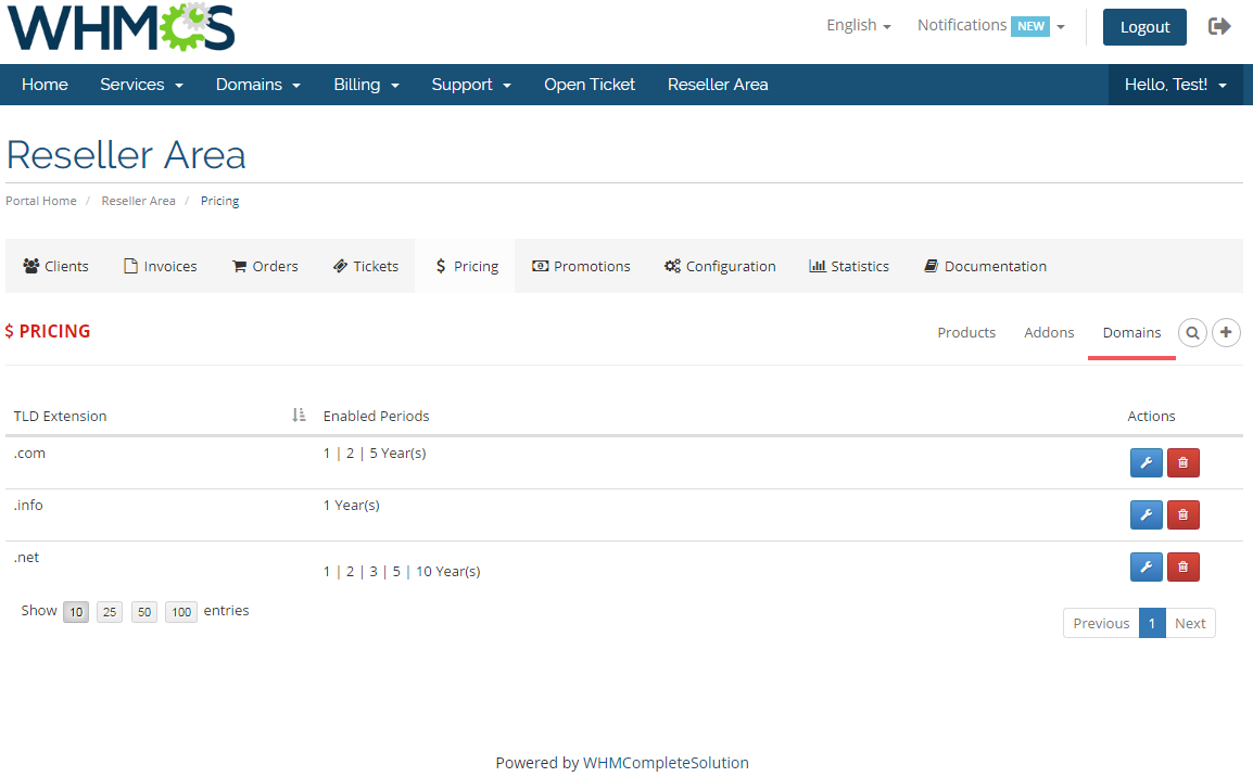 Resellers Center For WHMCS: Module Screenshot 28