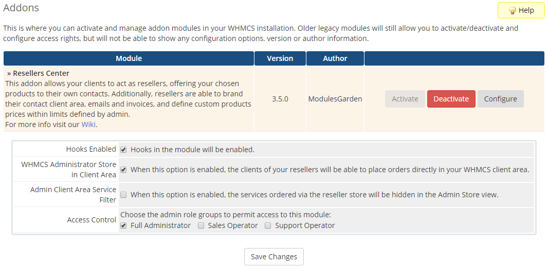 Resellers Center For WHMCS: Module Screenshot 14