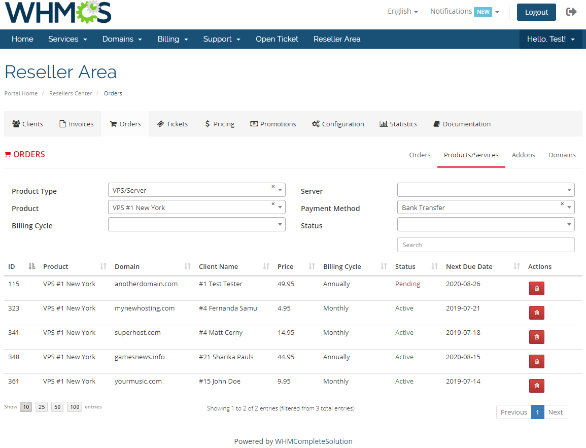 Resellers Center For WHMCS: Module Screenshot 23