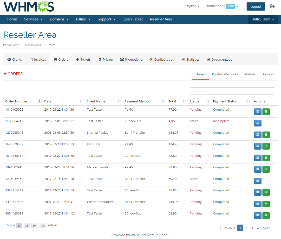 Resellers Center For WHMCS: Module Screenshot 21