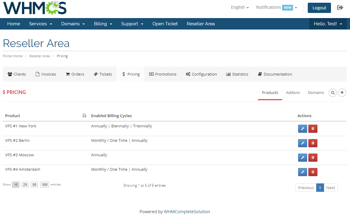 Resellers Center For WHMCS: Module Screenshot 26