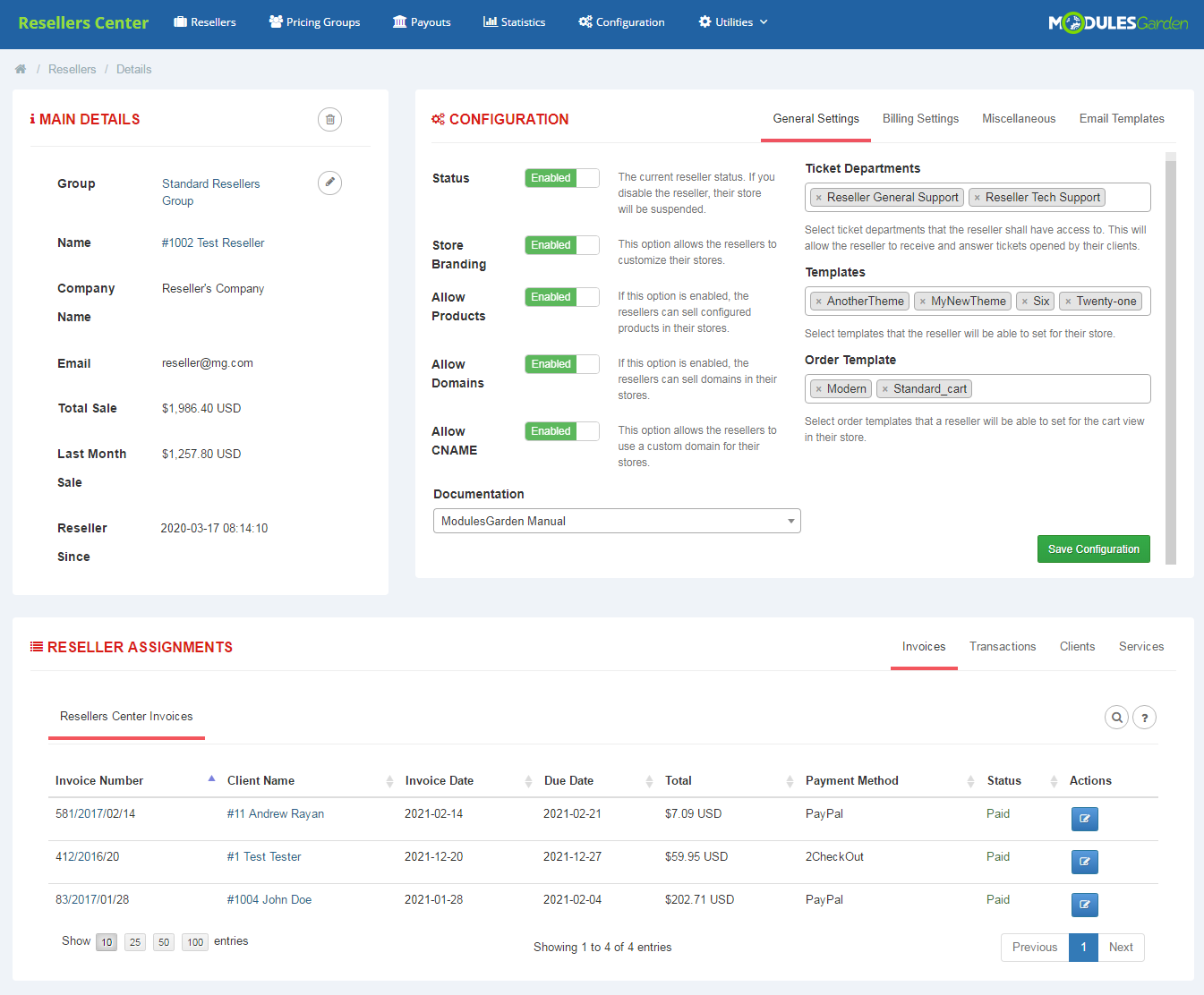 Resellers Center For WHMCS: Module Screenshot 2