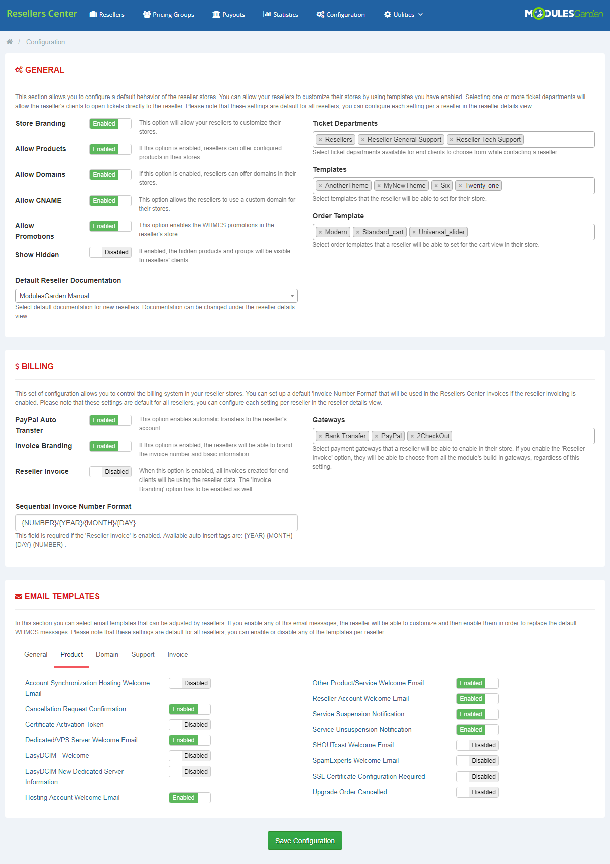Resellers Center For WHMCS: Module Screenshot 10