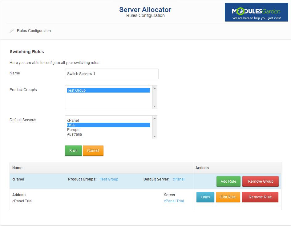 Server Allocator For WHMCS: Screen 2