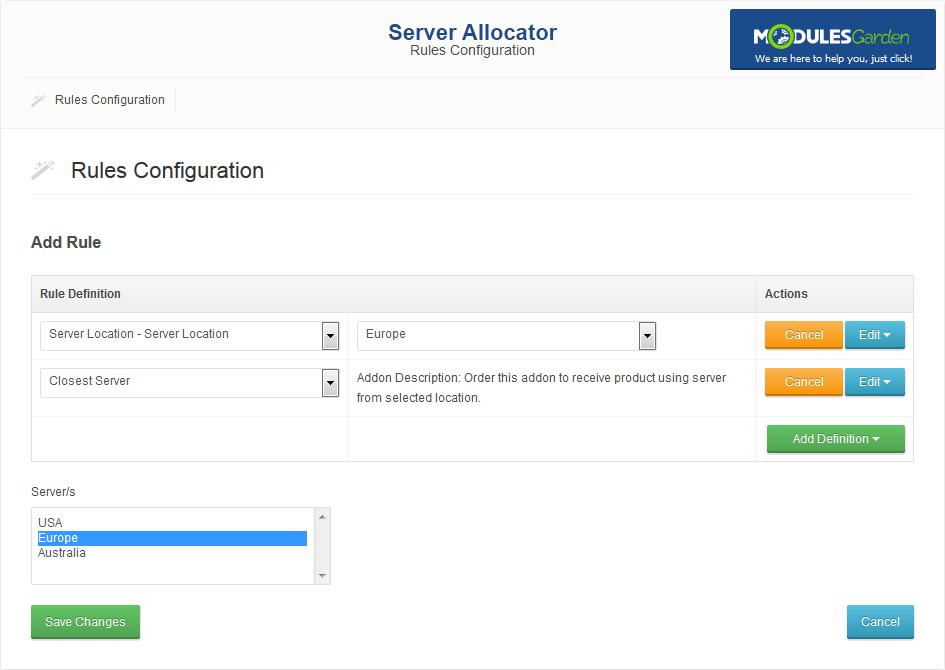 Server Allocator For WHMCS: Screen 3