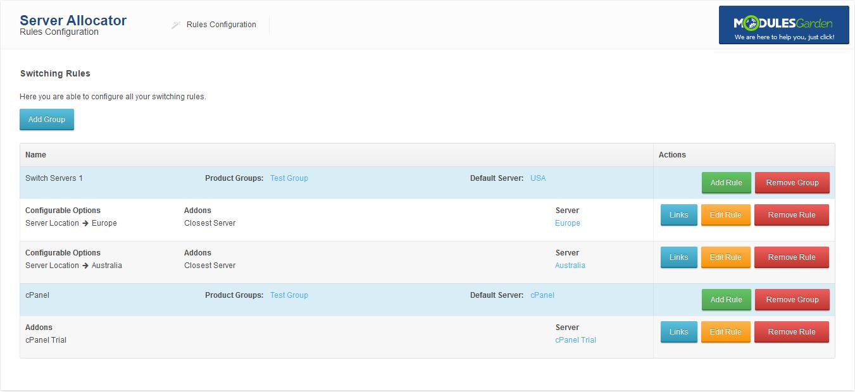 Server Allocator For WHMCS: Screen 1