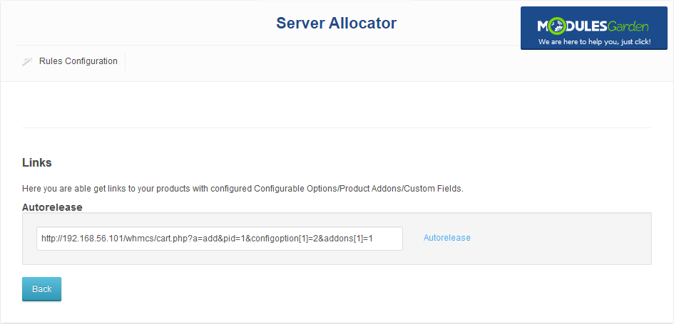 Server Allocator For WHMCS: Screen 4