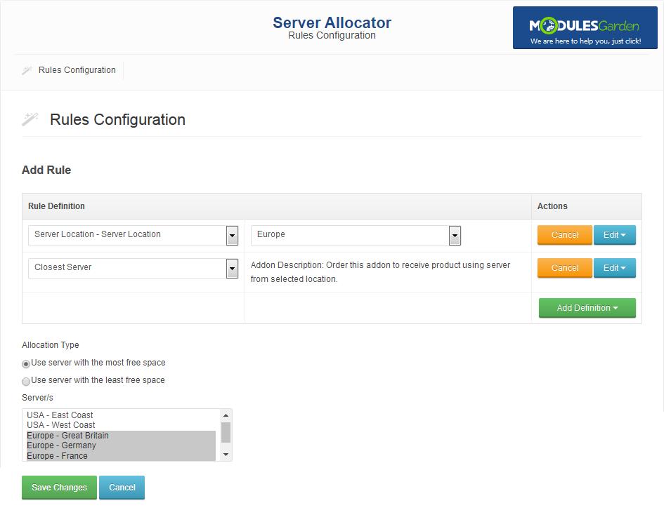 Server Allocator For WHMCS: Module Screenshot 3