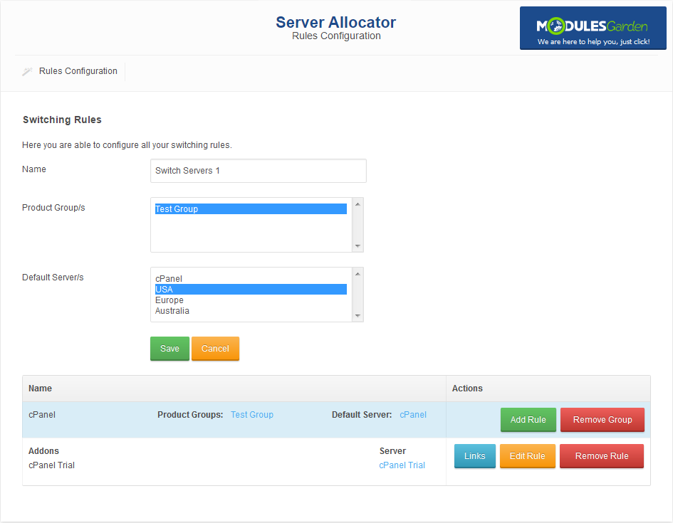 Server Allocator For WHMCS: Module Screenshot 2