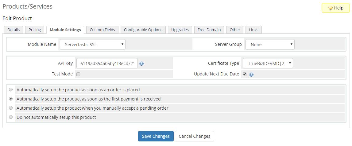 Servertastic SSL For WHMCS: Screen 5