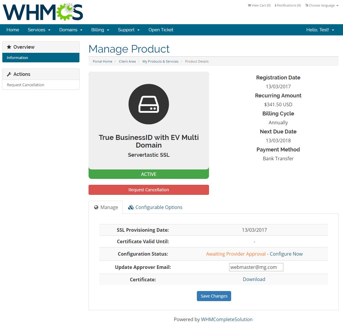 Servertastic SSL For WHMCS: Screen 2