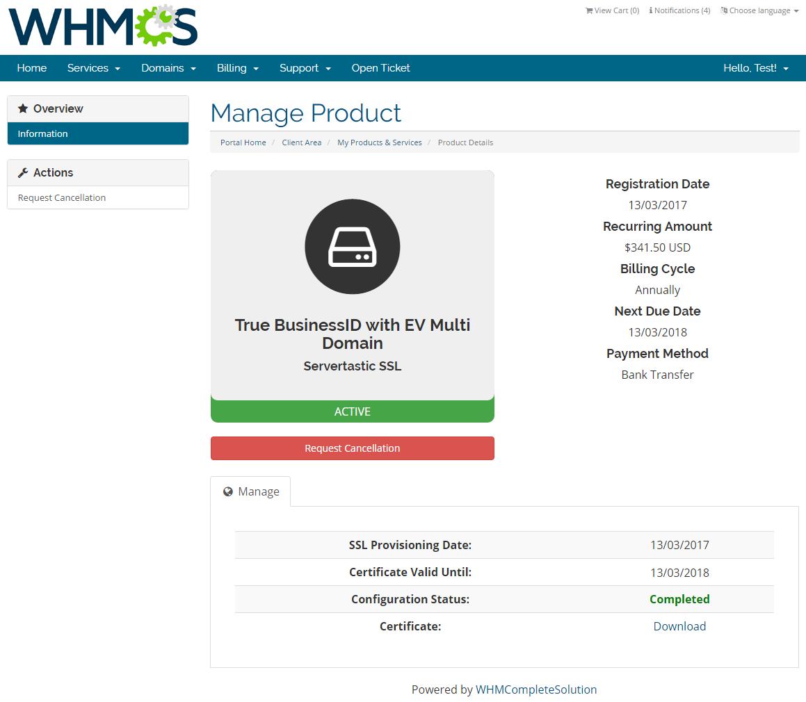 Servertastic SSL For WHMCS: Screen 3