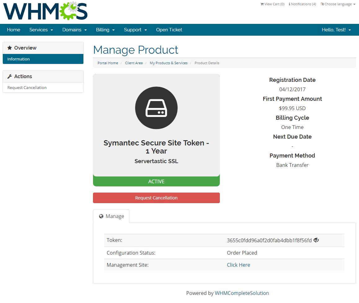 Servertastic SSL For WHMCS: Screen 1