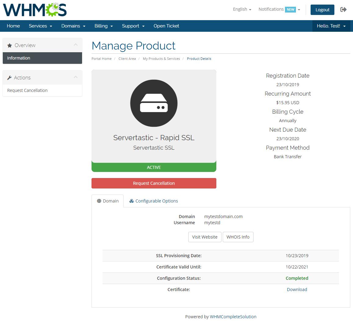 Servertastic SSL For WHMCS: Module Screenshot 3
