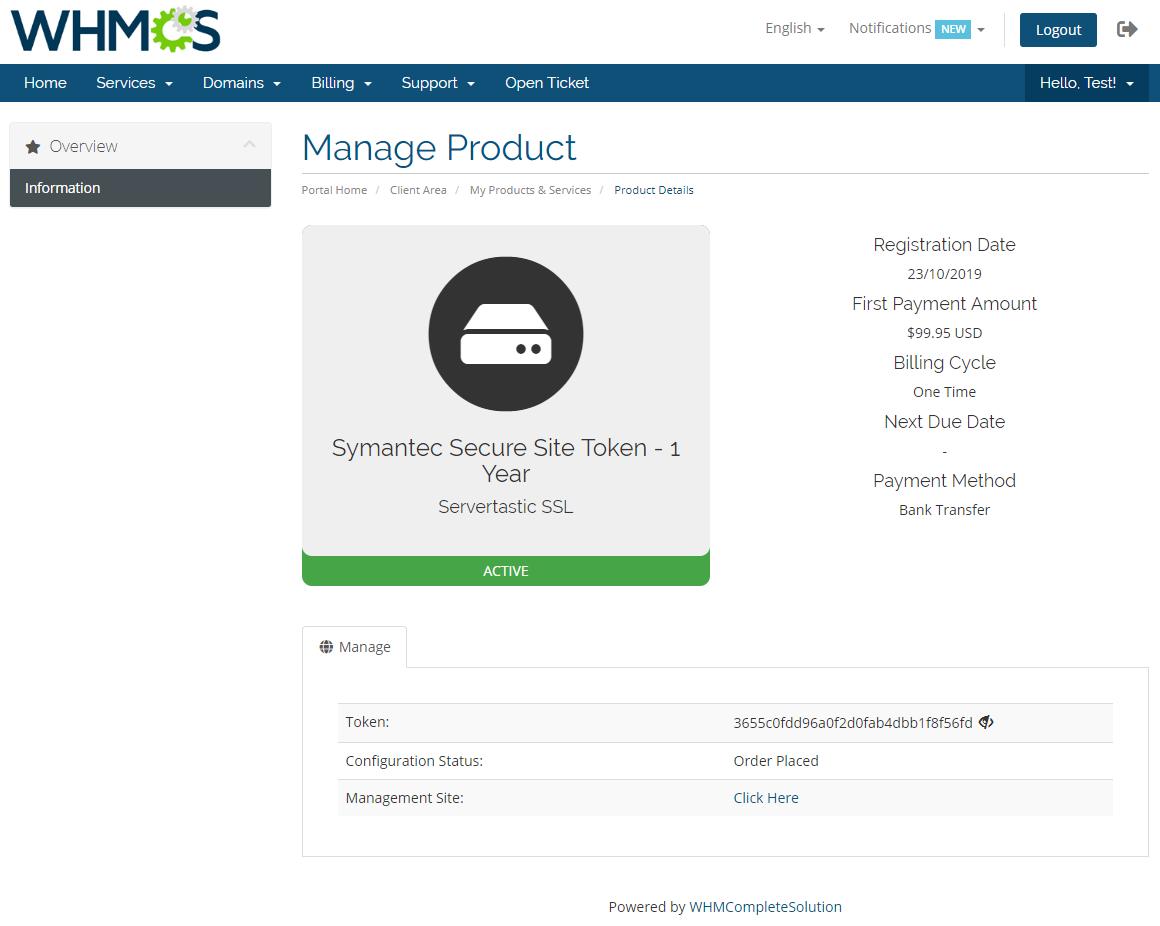 Servertastic SSL For WHMCS: Module Screenshot 7