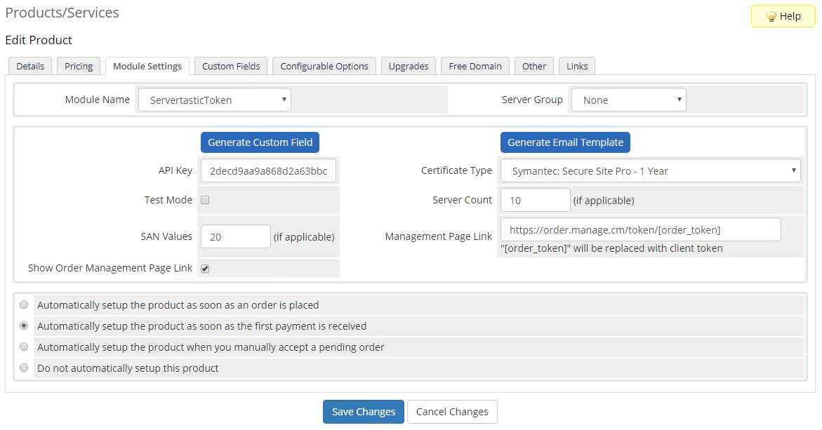 Servertastic SSL For WHMCS: Module Screenshot 8
