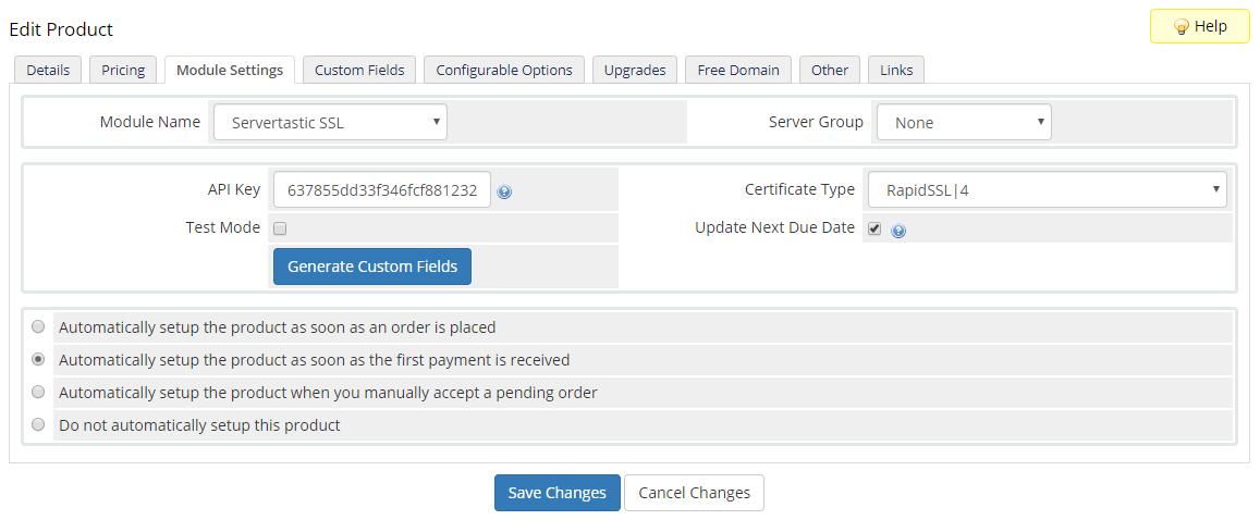 Servertastic SSL For WHMCS: Module Screenshot 5