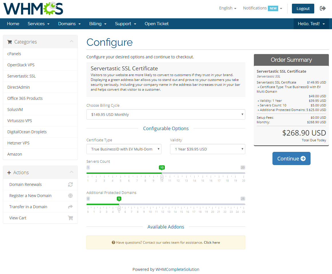 Servertastic SSL For WHMCS: Module Screenshot 1