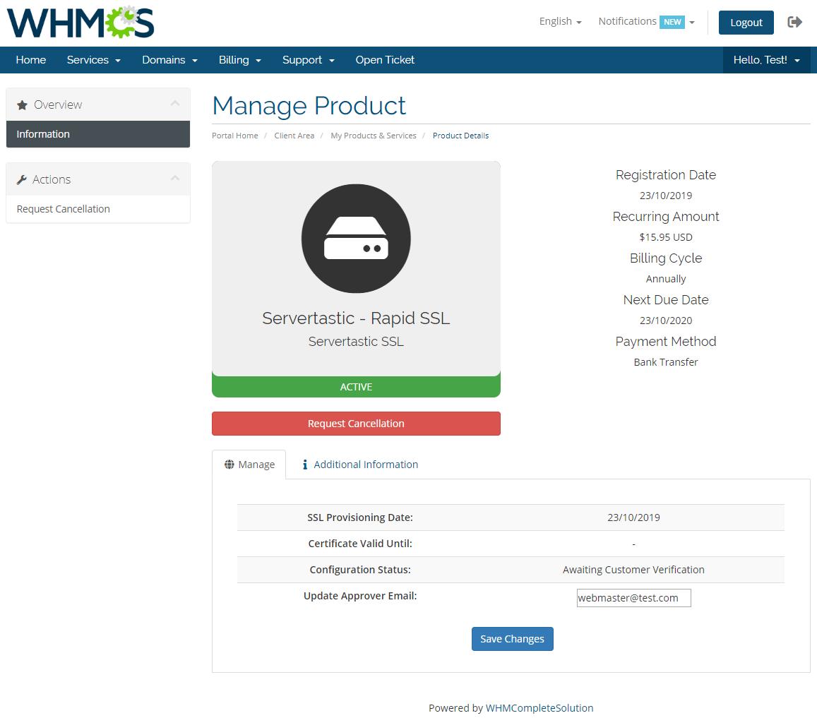 Servertastic SSL For WHMCS: Module Screenshot 2