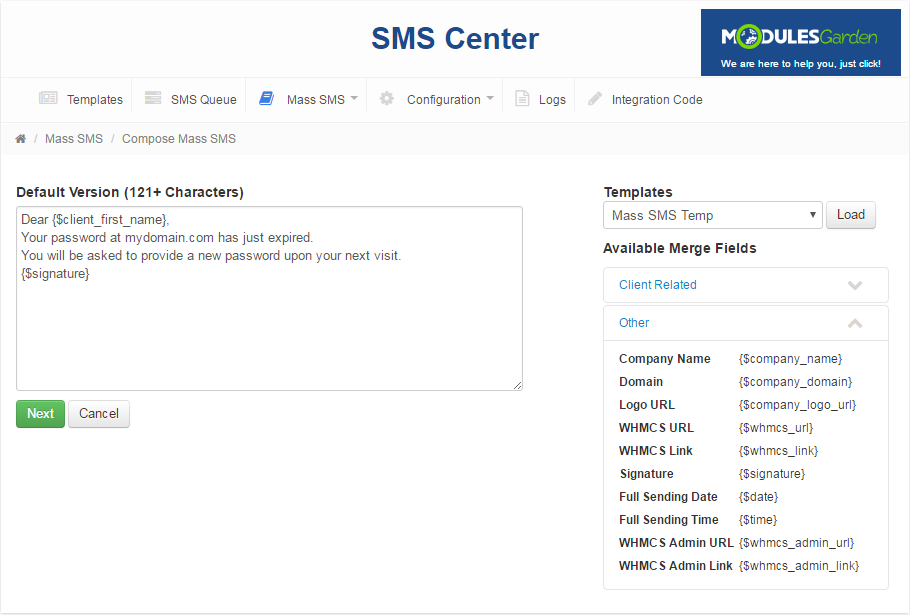 SMS Center For WHMCS: Screen 10