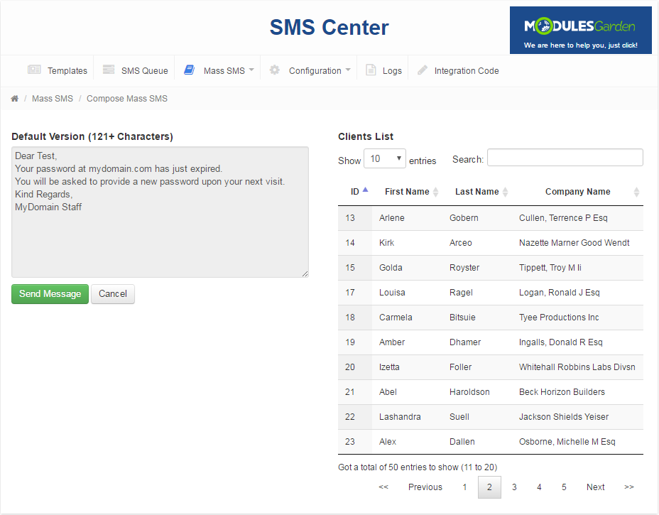 SMS Center For WHMCS: Screen 11