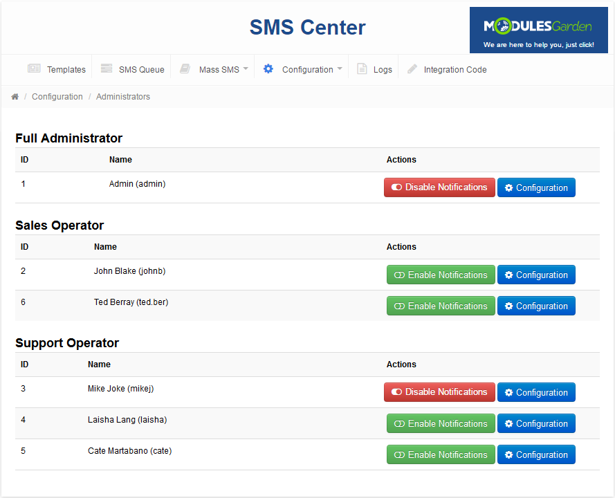 SMS Center For WHMCS: Screen 12