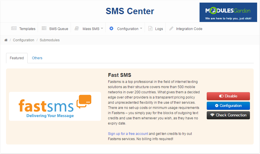 SMS Center For WHMCS: Screen 14