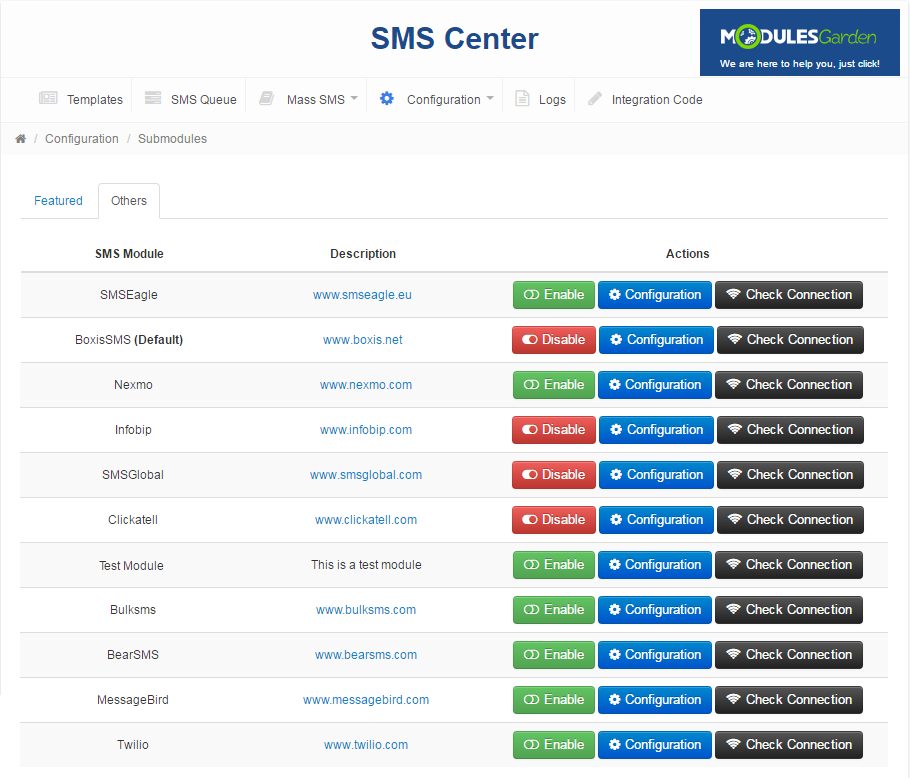 SMS Center For WHMCS: Screen 15