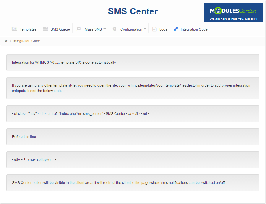 SMS Center For WHMCS: Screen 17
