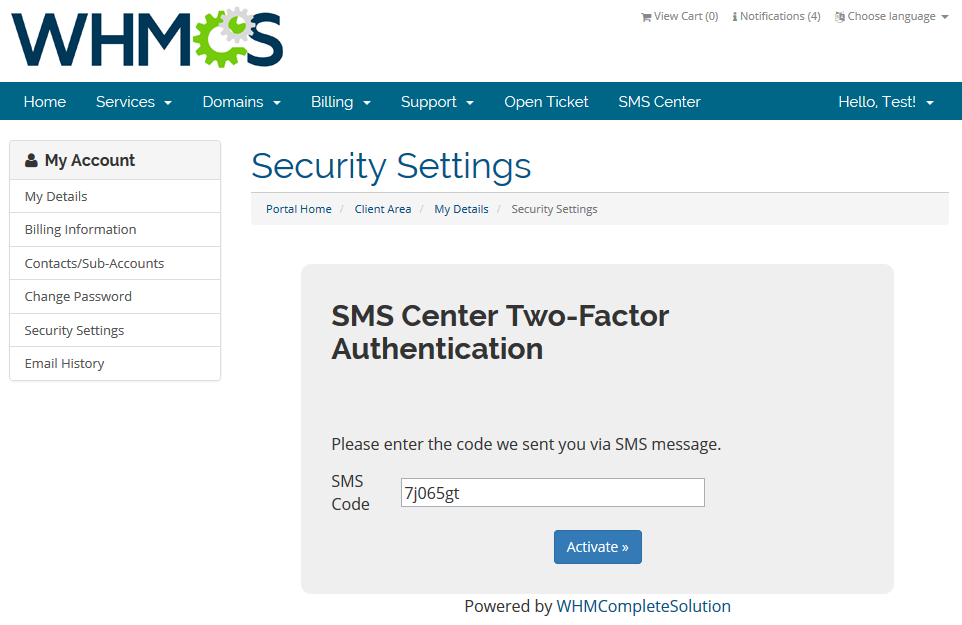 SMS Center For WHMCS: Screen 19