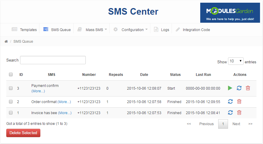 SMS Center For WHMCS: Screen 7